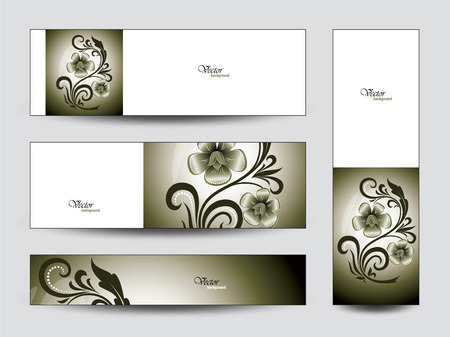 florish: Set of GreenFloral Banners.
