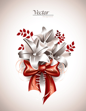 Floral Bouquet. Lily Flowers.