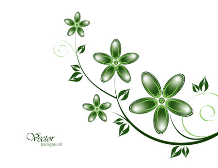 green flowers: Vector Branch of Green Flowers. Illustration