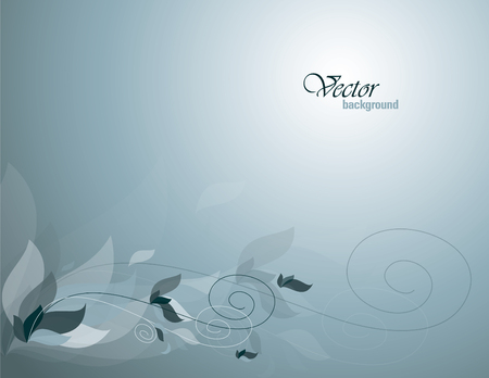 Blue Vector Background with Leaves.