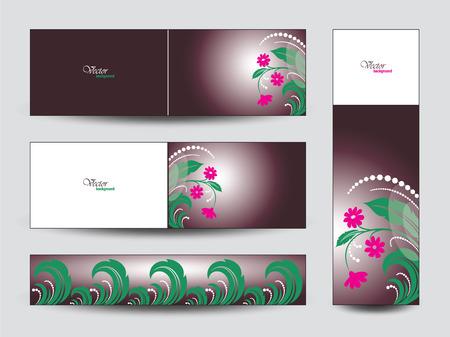 Floral Banners Set. Ilustração