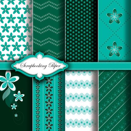 Modern Pattern Paper for Scrapbook. Set of Green Floral Designs. 向量圖像