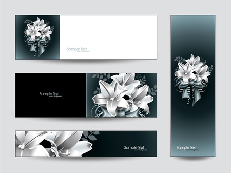 flower banner: Vector Banners with Lily Flowers.