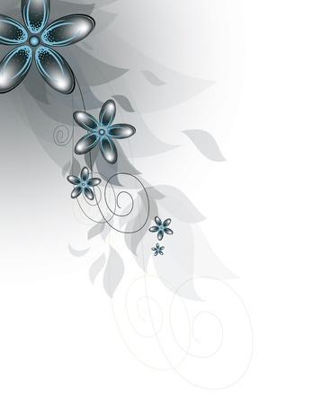 silver backgrounds: Vector Branch of Blue Flowers.