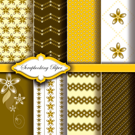 Modern Pattern Paper for Scrapbook. Set of Yellow Floral Designs.