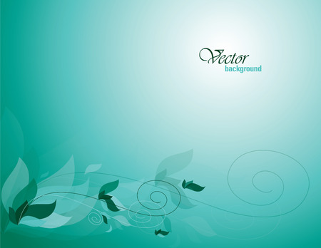 Turquoise Vector Background with Leaves.