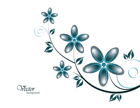 Vector Branch of Blue Flowers.