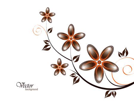 Vector Tak van oranje bloemen.