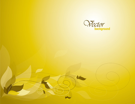yellow vector: Yellow Vector Background with Leaves. Illustration