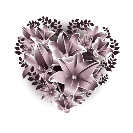 floral heart: Valentines Day Background. Floral Heart.