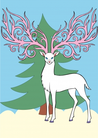 florid: White deer with large florid antlers