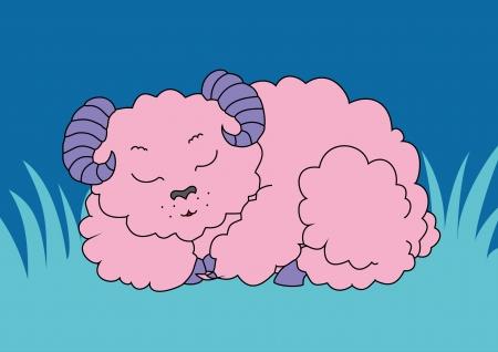 fab: Ð¡harming lamb sleeping in a meadow Illustration