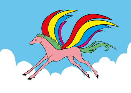 fabled: Flying Pegasus with colorful wings Illustration