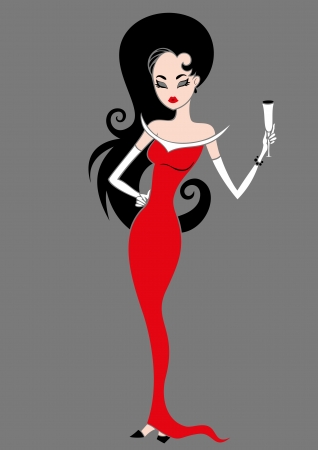 Glamour girl in a red dress and with a glass of champagne
