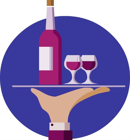 Waiter hand hold a serving tray with red wine bottle and two glasses Vector