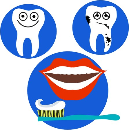 happy and sad tooth and red lips mouth on blue background Vector