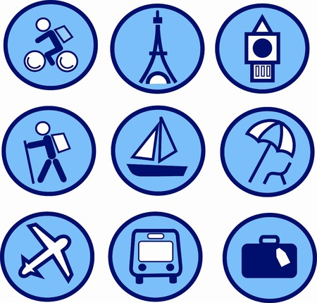 blue traveling and tourism icon set , illustration Vector