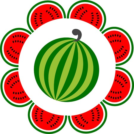 whole and sliced watermelon arranged like a flower, illustration Vector