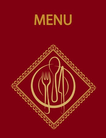 wares: restaurant menu design with red background,  illustration
