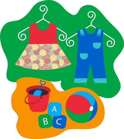 baby clothes hanging on clothes hanger  Vector