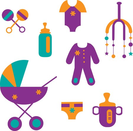 colorful baby set of toys and clothing Vector