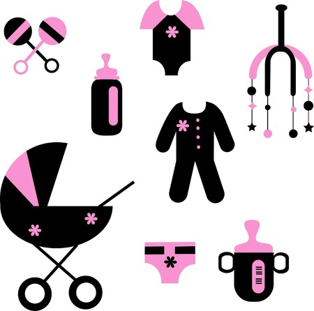 baby set of toys and clothing Vector