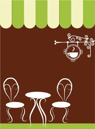 two chairs and table in a coffee shop Illustration