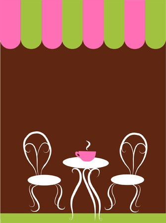 two chairs and table in a coffee shop Vector