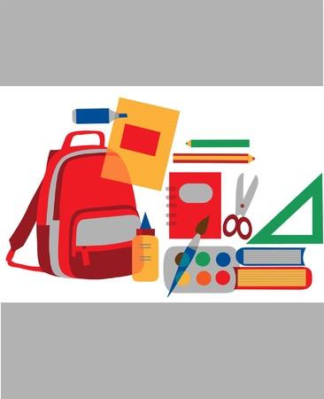 classroom supplies: De vuelta a la escuela accesorios coloridos, ilustraci�n de vectores
