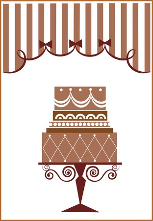 cake illustration: big birthday cake and party  Illustration