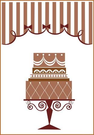 torta di compleanno grande e il partito  Vettoriali