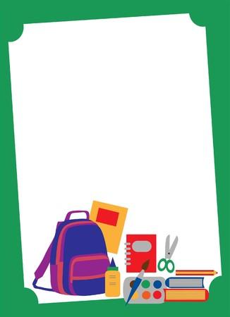 classroom supplies: Volver a la escuela accesorios sobre blanco