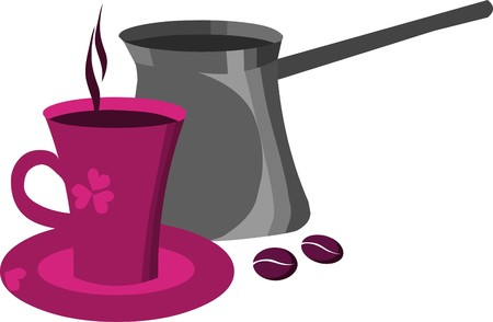 pink cup of coffee with coffee bean  Vector