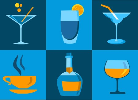 cocktail straw: icon set of whiskey bottle and four cocktail glasses