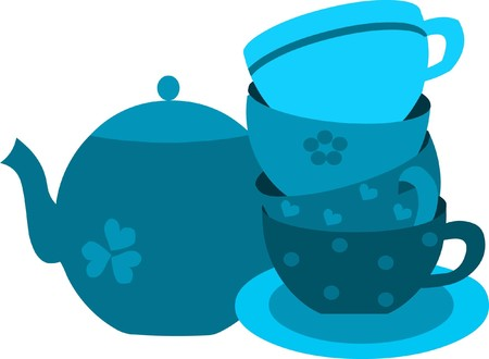 blue tea pot and four blue cups on plate Stock Vector - 7526831
