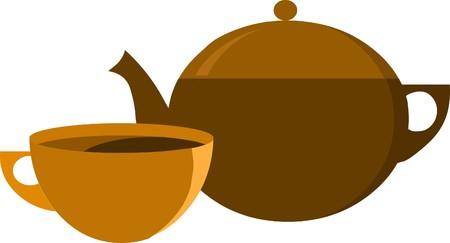tea pot and tea cup Stock Vector - 7527021