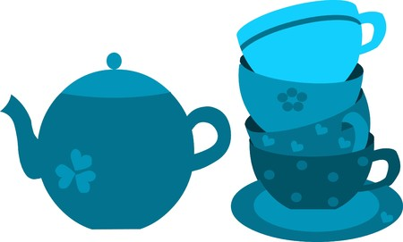 blue tea pot and four blue cups on plate Vector