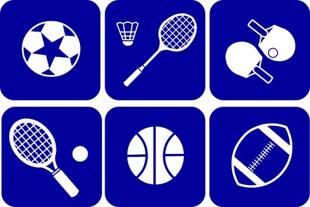 summer sport icons set on blue background Vector