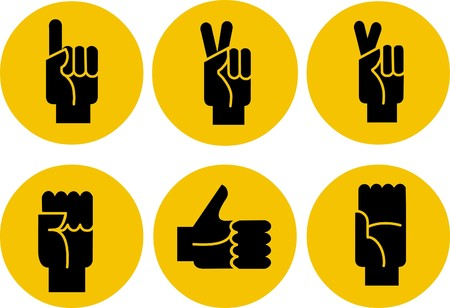 digit 3: set of black hands icons