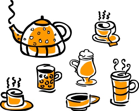 set of beverage cups and tea pot Vector