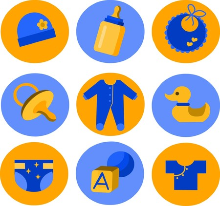 baby set of toys and clothing on blue and yellow background Vector