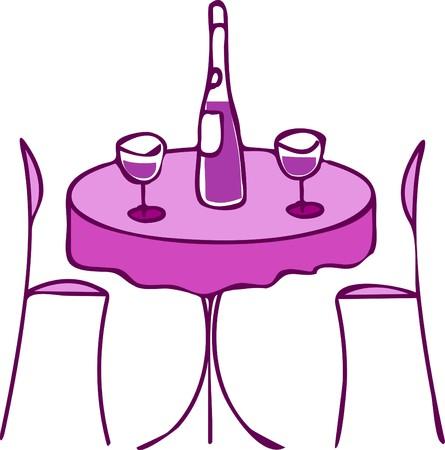 tabla con vino y dos sillas - cena romántica