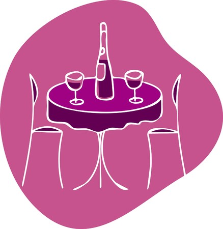 table with wine and two chairs -  romantic dinner Vector