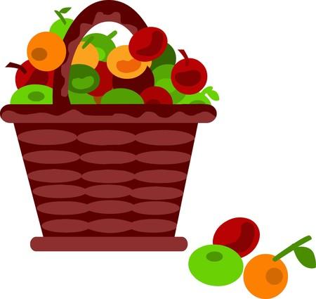 picnic basket: brown cartoon basket with fruits
