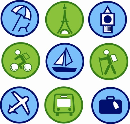 symbol tourism: blue and green traveling and tourism icon set