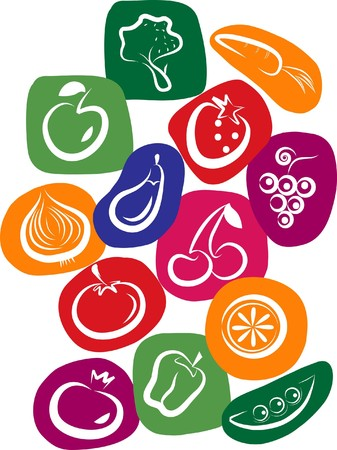 white vegetable and fruit icons on colorful background