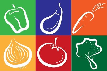 aubergine: wei�e Gem�se Ikonen auf farbigen Hintergrund