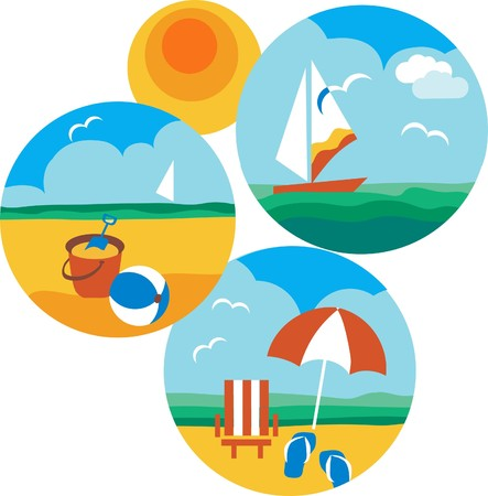 summer and travel icons of beach and sea with yellow sun  Vector