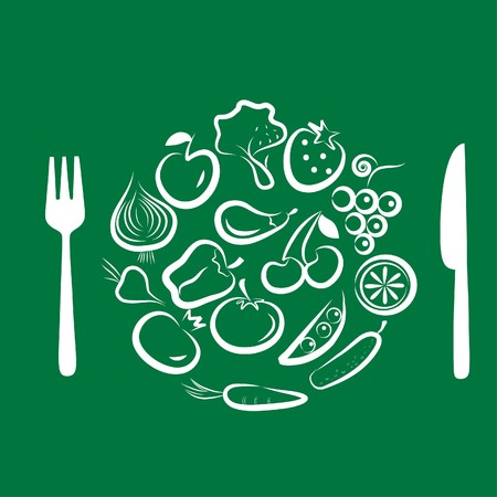 healty food: Different types of delicious fruits and vegetables combined in round frame on green background Illustration