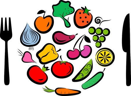 healty food: Different types of delicious fruits and vegetables combined in round frame